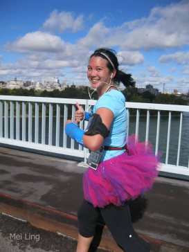 Mei wearing a tutu running in Montreal