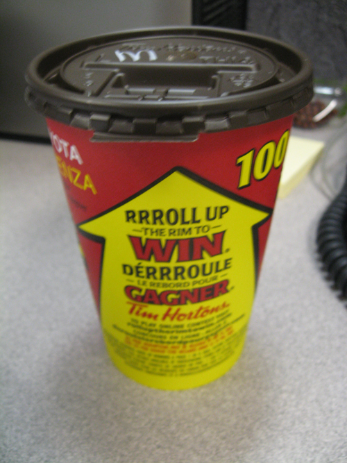 A sure sign of spring...Roll Up the Rim at Tim Hortons is here!