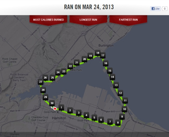 Around the Bay course (as mapped by my Nike Running app)
