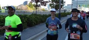 Kelly, Arlene and I still smiling and running.