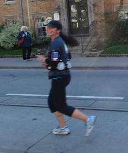 Jason took this blurry picture of me running as he passed me.