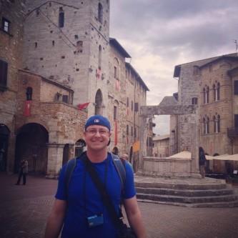 Dan with the wishing well in San Gimignano