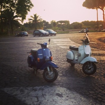 A shot of the Vespas from our Vespa night tour in Rome.