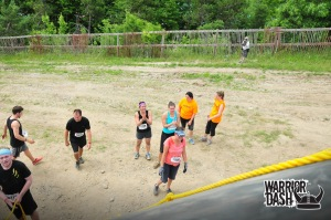 I think we're clapping in this picture as we wait our turn at an obstacle.