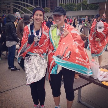 Kelly and Mei after finishing the half marathon.