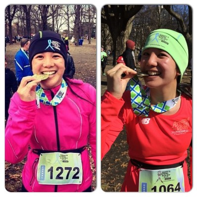 Mei biting her medal in 2014 and 2015.