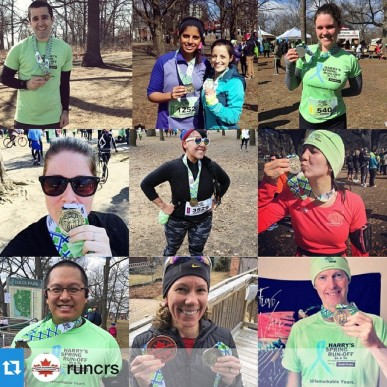 Collage of runners with their medals at Harry's Spring Run-off