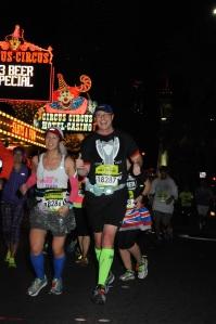 Mei and Dan running past Circus Circus.