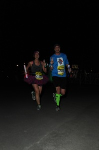 Mei and Dan running stride for stride.