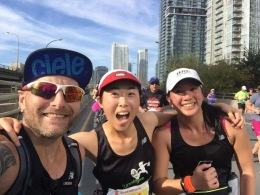 Cliff, Gillian and Mei during Gillian's first marathon.