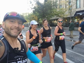 Cliff's selfie with Mei, Melly and Cathy as they run across Bloor Street.