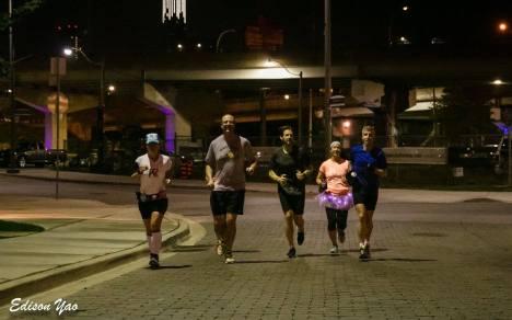 Running on Bayview in the dark.